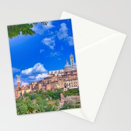 Beautiful panoramic view of the historic city of Siena, Italy. Stationery Cards