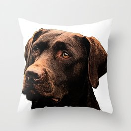 Chocolate Lab bywhacky Throw Pillow