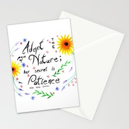 Pace of Nature Watercolor Typography with Flowers Stationery Cards