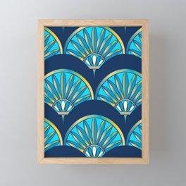 Art Deco Fan Blue Framed Mini Art Print