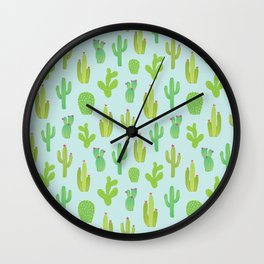 Colorful cactus desert illustration pattern. Green cactuses on blue. Wall Clock