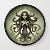 medusa Wall Clocks featuring Medusa by Freeminds