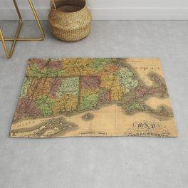 1831 Rhode Island, Connecticut, and Massachusetts Wall Map Rug