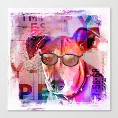 Cool colorful hippster dog artwork Canvas Print