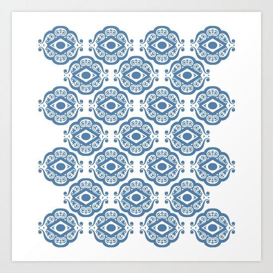 Blue White Ornate Shapes Pattern Art Print