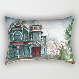 Blue House on a Grey Day Rectangular Pillow