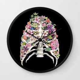 """""""Blooming on the Inside"""" - Flowers in Ribcage Wall Clock"""