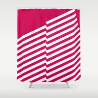 bands Shower Curtains featuring Red Bands R. by blacknote