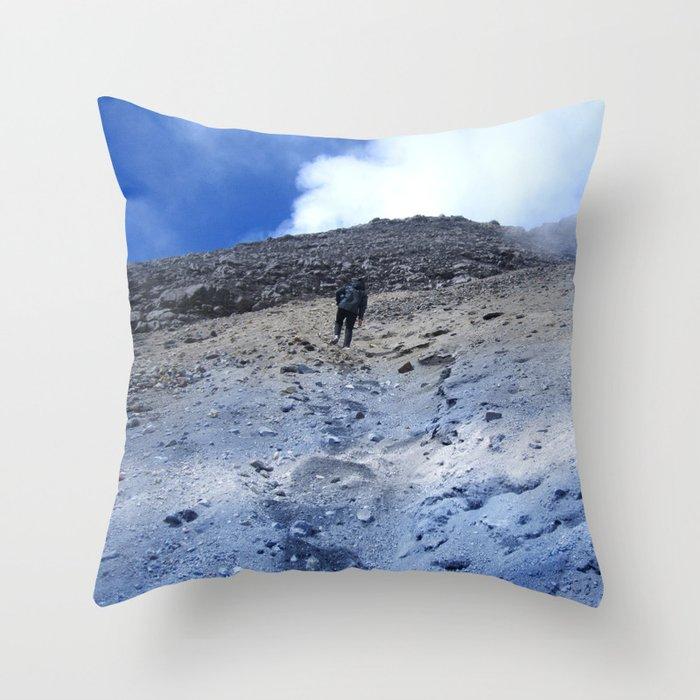 Blue Sky Near Volcano Lake Merapi Mountain Throw Pillow By