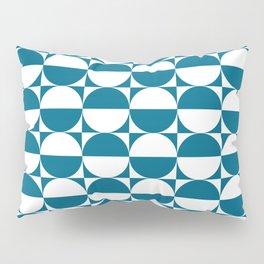 Mid Century Modern Half Circles Pattern Peacock Blue Pillow Sham