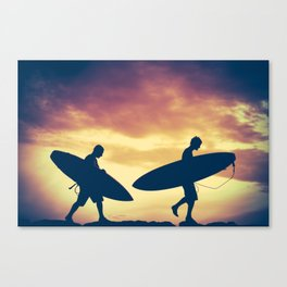 Two Surfers At Sunset Canvas Print