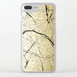Paris France Minimal Street Map - Gold on Black Clear iPhone Case