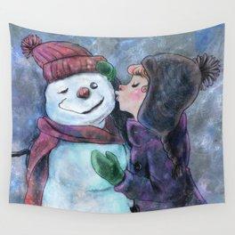 Kiss a snowman Wall Tapestry