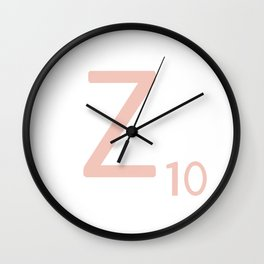 Pink Scrabble Letter Z - Scrabble Tile Art and Accessories Wall Clock