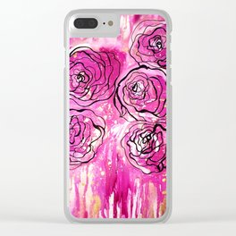 Pink & Gold Rose Paint Drips Clear iPhone Case