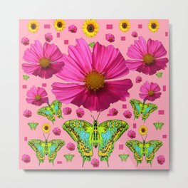 PINK COSMO FLORALS GREEN MOTHS SUNFLOWERS Metal Print