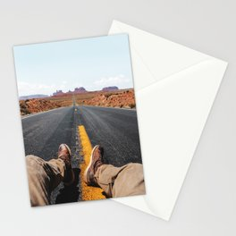 on the road in the monument valley Stationery Cards