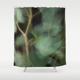 Abstract Eucalyptus Leaves on Black Background-Fleur Blur Series Shower Curtain