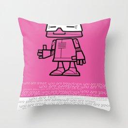 Ze Robot, Pink :) Throw Pillow