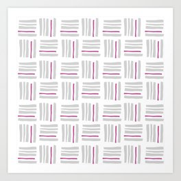 Stripes×Checkered Pattern_White&Pink Art Print