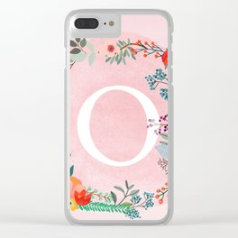 Flower Wreath with Personalized Monogram Initial Letter O on Pink Watercolor Paper Texture Artwork Clear iPhone Case