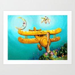 Dia de Los Muertos Bi-Plane, with Sugar Skull Moon and Stars Art Print