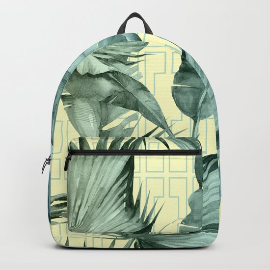 Simply Island Mod Palm Leaves on Pale Yellow Backpack