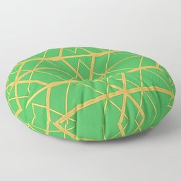 Emerald Green and Gold Art Deco Pattern Floor Pillow