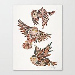 Owls in Flight – Brown Palette Canvas Print