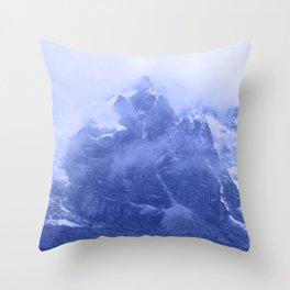 Rocky Mountain Fog Blue Throw Pillow