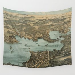 Vintage Pictorial Map of Lake Chautauqua NY (1885) Wall Tapestry