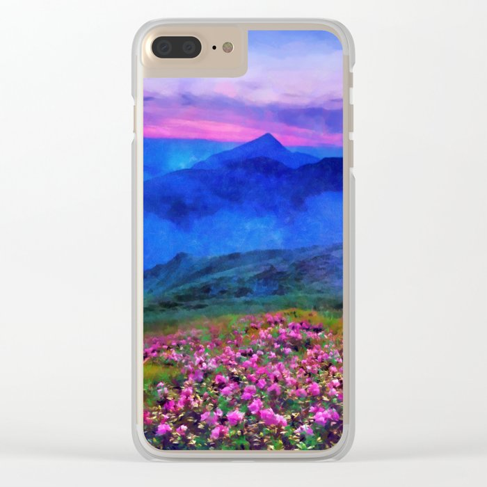 Flowering mountains in the clouds Clear iPhone Case