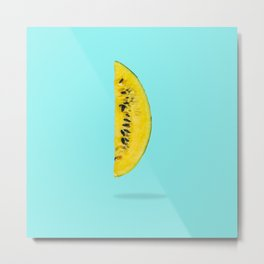 Yellow watermelon slice floating in the air Metal Print