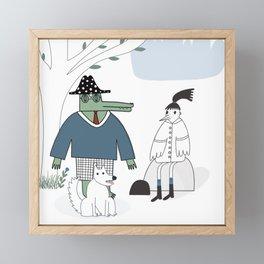 Mr. Croco, dog and a girl - a bird. Framed Mini Art Print