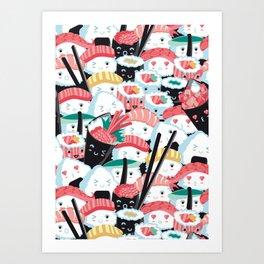 Kawaii Sushi Crowd Art Print