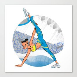 Sneaker Badge: Yoga girl Cool Noodle and Air Jordan 11 Canvas Print