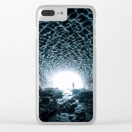 Glacial Ice Cave in the Mountains - Landscape Photography Clear iPhone Case