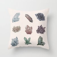 crystals Throw Pillows featuring Crystals by Samantha Crepeau