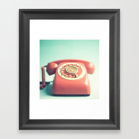 Pink Retro Telephone on Mint  Framed Art Print