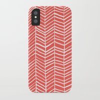 coral iPhone & iPod Cases featuring Coral Herringbone by Cat Coquillette