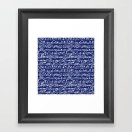 Hand Written Sheet Music // Midnight Blue Framed Art Print