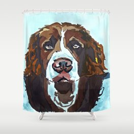 Swimming Dog Portrait Shower Curtain