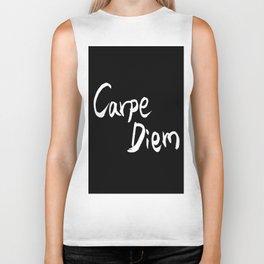 Carpe Diem White character Biker Tank
