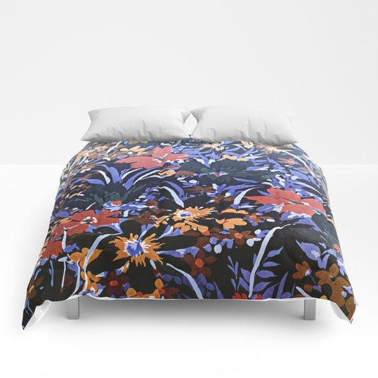Midnight Floral Garden Comforters