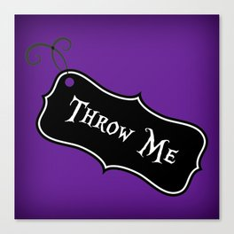 """""""Throw Me"""" Alice in Wonderland styled Bottle Tag Design in 'Shy Violets' Canvas Print"""