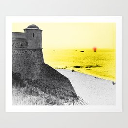 Red light in the yellow sea Art Print