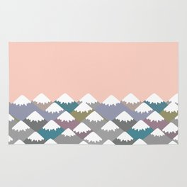 Nature background with Mountain landscape. Gray, pink, blue navy mountain with snow-capped peaks. Rug