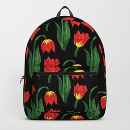 Bold Modern Bright Red and Yellow Flowers on Black Background Backpack