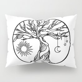 black and white tree of life with hanging sun, moon and stars I Pillow Sham