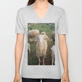 A Flock Of Sheep In A Rural Setting Unisex V-Neck